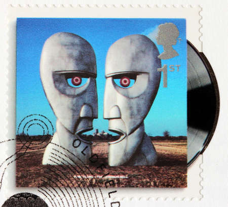 pink floyd: GREAT BRITAIN - CIRCA 2010: A stamp printed by GREAT BRITAIN shows Pink Floyd album The Division Bell (1994) cover, circa 2010.