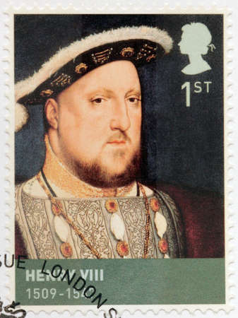 viii: UNITED KINGDOM - CIRCA 2009: A stamp printed by GREAT BRITAIN shows image portrait of  king Henry VIII of England. Henry was the second monarch of the Tudor dynasty, circa 2009 Editorial