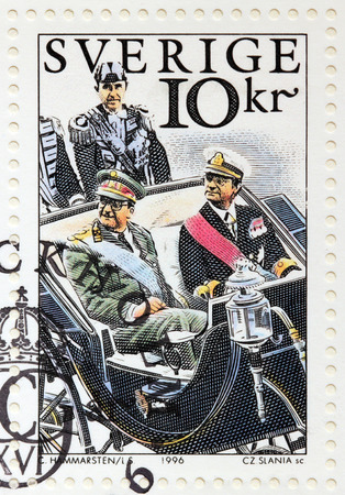 gustaf: SWEDEN - CIRCA 1996: A stamp printed by SWEDEN shows image portraits of King Carl XVI Gustaf of Sweden and King Albert II of Belgium, 1994, circa 1996