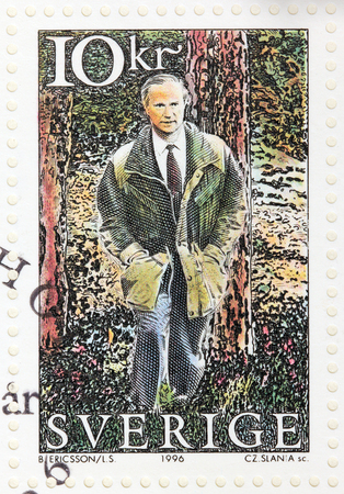 xvi: SWEDEN - CIRCA 1996: A stamp printed by SWEDEN shows King Carl XVI Gustaf of Sweden in the Tyresta National park, circa 1996 Editorial