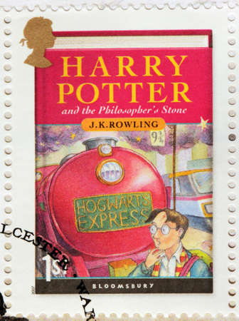 UNITED KINGDOM - CIRCA 2007: A stamp printed by GREAT BRITAIN shows image of the cover of Harry Potter and the Philosophers Stone novel by Joanne (Jo) Rowling, pen names J. K. Rowling, circa 2007.