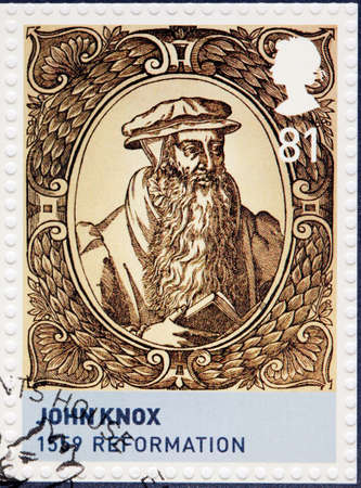 clergyman: UNITED KINGDOM - CIRCA 2010: A stamp printed by GREAT BRITAIN shows image portrait of  John Knox - a Scottish clergyman and writer who was a leader of the Protestant Reformation, circa 2010 Editorial