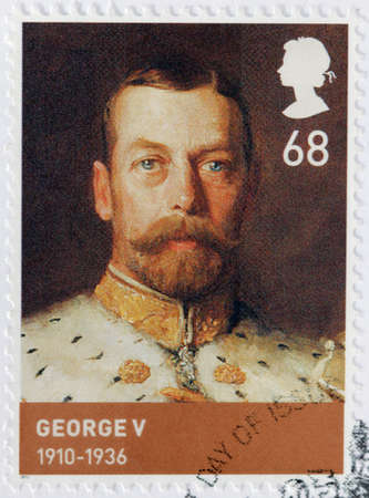 UNITED KINGDOM - CIRCA 2012: A stamp printed by GREAT BRITAIN shows image portrait of George V - King of the United Kingdom and the British Dominions and Emperor of India, circa 2012