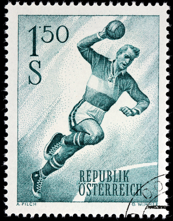 AUSTRIA - CIRCA 1959: A stamp printed by AUSTRIA shows image of Handball Player, circa 1959.