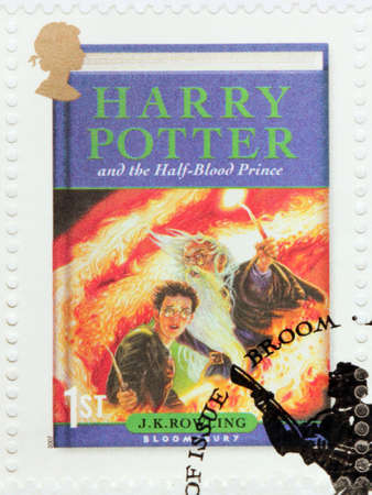 UNITED KINGDOM - CIRCA 2007: A stamp printed by GREAT BRITAIN shows image of cover of Harry Potter and the Half-Blood Prince novel by Joanne (Jo) Rowling, pen names J. K. Rowling, circa 2007.