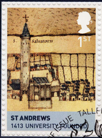 king james: UNITED KINGDOM - CIRCA 2010: A stamp printed by GREAT BRITAIN shows view of University of St Andrews (St Andrews University) - the oldest of the four ancient universities of Scotland, circa 2010