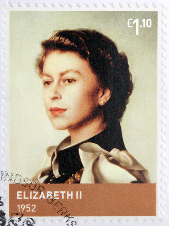 UNITED KINGDOM - CIRCA 2012: A stamp printed by GREAT BRITAIN shows image portrait of Elizabeth II - Queen of the United Kingdom and the other Commonwealth realms, circa 2012 Editorial