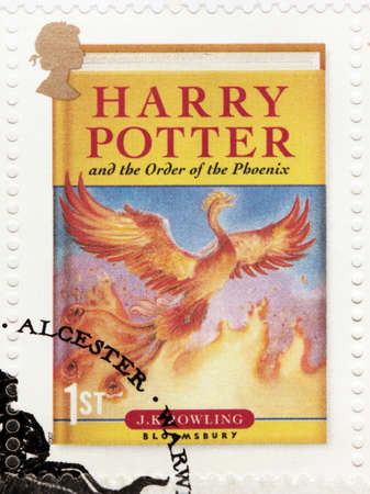 UNITED KINGDOM - CIRCA 2007: A stamp printed by GREAT BRITAIN shows image of cover of Harry Potter and the Order of the Phoenix novel by Joanne (Jo) Rowling, pen names J.K. Rowling, circa 2007.