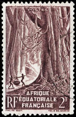 FRENCH EQUATORIAL AFRICA - CIRCA 1947: A stamp printed by FRENCH EQUATORIAL AFRICA shows Equatorial Africa landscape, circa 1947