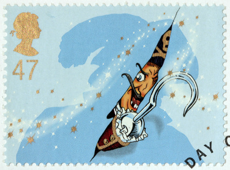barrie: UNITED KINGDOM - CIRCA 2002: A stamp printed by GREAT BRITAIN shows Captain Hook from Peter Pan stories. Peter Pan is a character created by Scottish novelist and playwright JM Barrie, circa 2002. Editorial