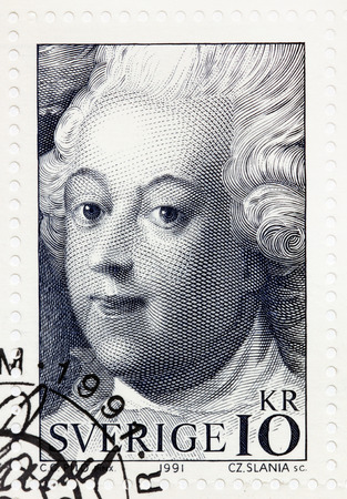 gustaf: SWEDEN - CIRCA 1991: A stamp printed by SWEDEN shows image portrait of King Gustav III. Detail of a painting by Swedish artist Carl Gustaf Pilo, showing the coronation of King Gustav III, circa 1991