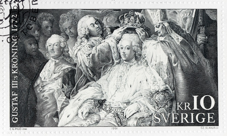 gustaf: SWEDEN - CIRCA 1991: A stamp printed by SWEDEN shows engraving by Czeslaw Slania after painting Coronation of King Gustav III by famous Swedish artist Carl Gustaf Pilo, circa 1991