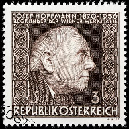 josef: AUSTRIA - CIRCA 1966: A stamp printed by AUSTRIA shows image portrait of Josef Hoffmann - Austrian architect and designer of consumer goods, circa 1966 Editorial