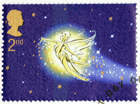 barrie: UNITED KINGDOM - CIRCA 2002: A stamp printed by GREAT BRITAIN shows Peter Pan flight. Peter Pan is a character created by Scottish novelist and playwright James Matthew Barrie, circa 2002.
