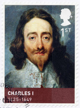 kingdoms: UNITED KINGDOM - CIRCA 2010: A stamp printed by GREAT BRITAIN shows image portrait of King Charles I - monarch of the three kingdoms of England, Scotland, and Ireland, circa 2010