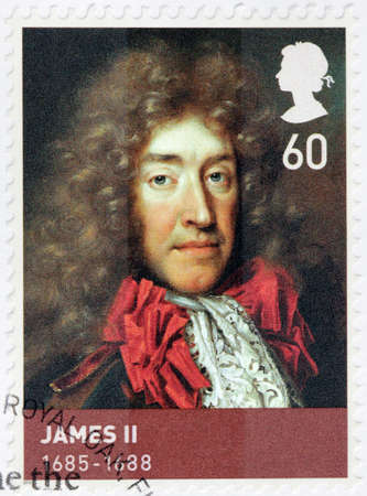 king james: UNITED KINGDOM - CIRCA 2010: A stamp printed by GREAT BRITAIN shows image portrait of  James II and VII - King of England and Ireland as James II and King of Scotland as James VII, circa 2010