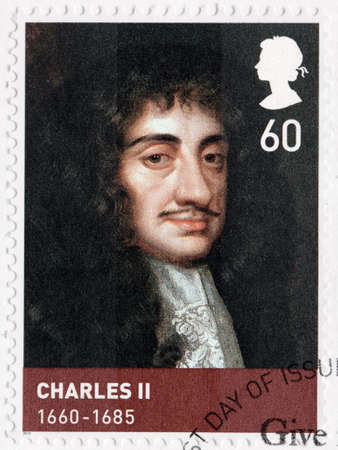 kingdoms: UNITED KINGDOM - CIRCA 2010: A stamp printed by GREAT BRITAIN shows image portrait of King Charles II - monarch of the three kingdoms of England, Scotland, and Ireland, circa 2010