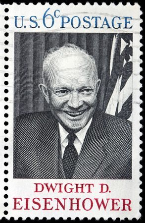 eisenhower: UNITED STATES - CIRCA 1969: A stamp printed by USA shows image portrait of Dwight Eisenhower - the 34th President of the United States from 1953 until 1961, circa 1969.