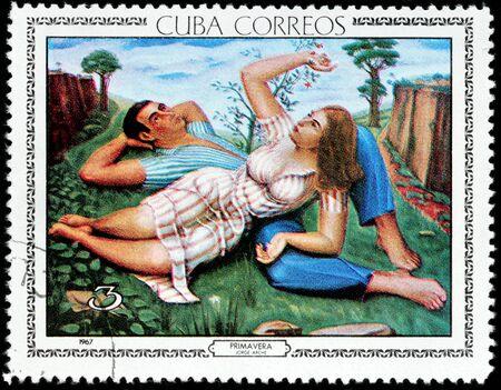 primavera: CUBA - CIRCA 1967: A stamp printed by CUBA shows painting Spring (Primavera) by famous Cuban artist Jorge Arche, circa 1967