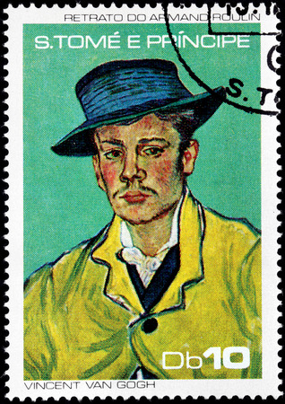 van gogh: SAO TOME AND PRINCIPE - CIRCA 1988: A postage stamp printed by SAO TOME AND PRINCIPE shows image portrait of Armand Roulin by a major Post-Impressionist painter Vincent van Gogh, circa 1988 Editorial