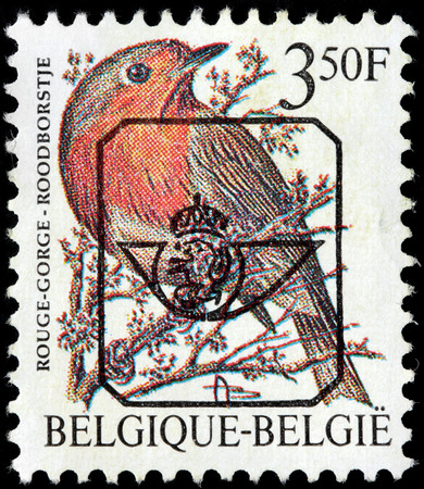 passerine: BELGIUM - CIRCA 1993: a stamp printed by BELGIUM shows European robin (Erithacus rubecula), most commonly known simply as the robin - a small insectivorous passerine bird, circa 1993.