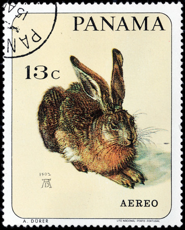 printmaker: PANAMA - CIRCA 1965: A stamp printed by PANAMA shows  Watercolour Young Hare by German painter, printmaker, mathematician Albrecht Durer, circa 1965 Editorial