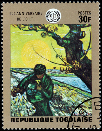 van gogh: TOGO - CIRCA 1970: A stamp printed by TOGO shows painting Spring Sowing by famous Dutch Post-Impressionist painter Vincent van Gogh, circa 1970