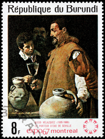 velazquez: BURUNDI - CIRCA 1967: A stamp printed by BURUNDI shows painting The Water Carrier of Seville by famous Spanish painter Diego Velazquez, circa 1967