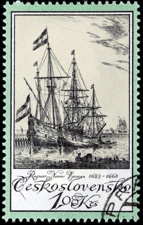 the distinguished: CZECHOSLOVAKIA - CIRCA 1976: A stamp printed by CZECHOSLOVAKIA shows engraving by one of the most distinguished marine artists of 17th-century Holland Reinier Nooms Zeeman, circa 1976