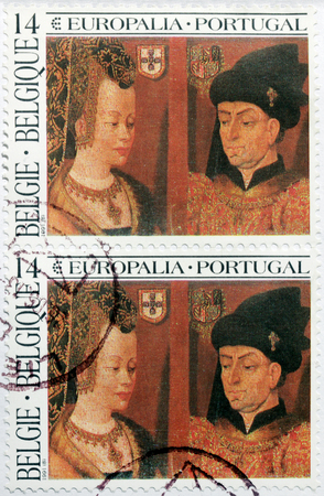 netherlandish: BELGIUM - CIRCA MAY, 1991: A set of two stamp printed by BELGIUM shows image Portraits of Philip the Good and Isabella of Portugal by famous Early Netherlandish painter Jan van Eyck