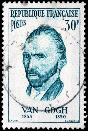 van gogh: FRANCE - CIRCA JULY, 1956: A stamp printed by FRANCE shows image portrait of a major Post Impressionist painter Vincent van Gogh.