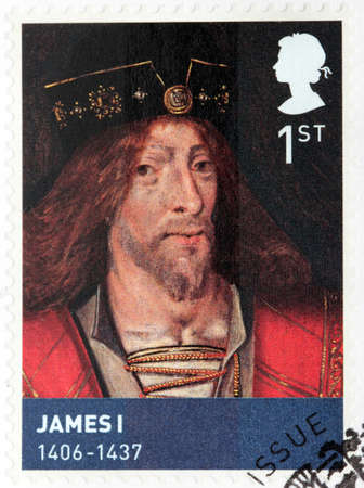 king james: UNITED KINGDOM - CIRCA MARCH, 2010: A stamp printed by GREAT BRITAIN shows image portrait of King of Scotland James I