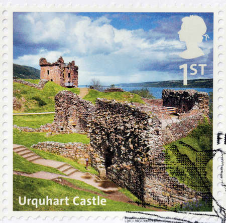 loch ness: UNITED KINGDOM - CIRCA 2012: A stamp printed by GREAT BRITAIN shows view of the ruins of Urquhart Castle. Castle locates beside Loch Ness in the Highlands of Scotland, circa 2012 Editorial