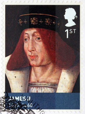 king james: UNITED KINGDOM - CIRCA MARCH, 2010: A stamp printed by GREAT BRITAIN shows image portrait of King of Scotland James II Editorial