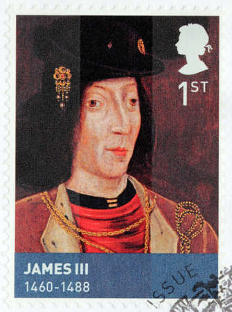 king james: UNITED KINGDOM - CIRCA MARCH, 2010: A stamp printed by GREAT BRITAIN shows image portrait of King of Scotland James III Editorial