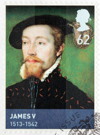 UNITED KINGDOM - CIRCA MARCH, 2010: A stamp printed by GREAT BRITAIN shows image portrait of King of Scotland James V