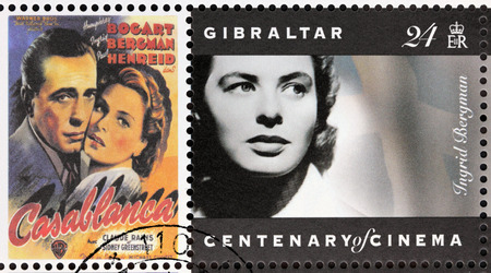 starring: GIBRALTAR - CIRCA 1995. A postage stamp printed by GIBRALTAR shows Swedish actress Ingrid Bergman and American actor Humphrey Bogart starring in the film Casablanca, circa 1995.