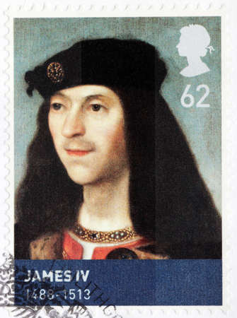 king james: UNITED KINGDOM - CIRCA MARCH, 2010: A stamp printed by GREAT BRITAIN shows image portrait of King of Scotland James IV