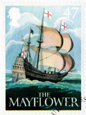 mayflower: SAINT-PETERSBURG, RUSSIA - JULY 14, 2015: A stamp printed by GREAT BRITAIN shows image of The Mayflower ship - one of the ancient British Pub Signs, circa August, 2003.