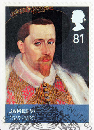 king james: UNITED KINGDOM - CIRCA MARCH, 2010: A stamp printed by GREAT BRITAIN shows image portrait of James VI and I - King of Scotland as James VI, and King of England and King of Ireland as James I.