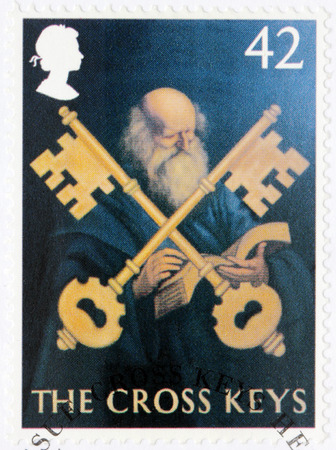 old sign: SAINT-PETERSBURG, RUSSIA - JULY 14, 2015: A stamp printed by GREAT BRITAIN shows image of The Cross Keys - one of the ancient British Pub Signs, circa August, 2003.