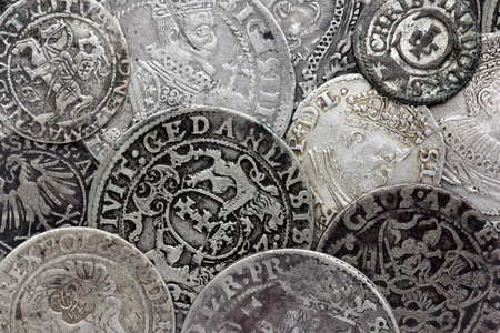 Closeup view of medieval European silver coins. Suitable for an abstract background. Stock Photo