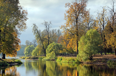Beautiful view of a small lake edged by green trees at autumn cloudy evening. Stock Photo