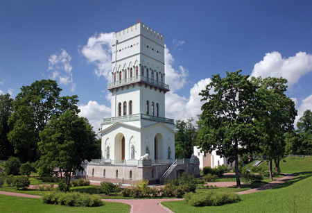 city pushkin: PUSHKIN, RUSSIA - JUNE 17, 2016: The White Tower in Alexander Park. Tower was built between 1821 and 1827 for children of Russian Emperor Nicholas First,  June 17, 2016