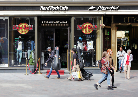 hard rock cafe: HELSINKI, FINLAND - AUGUST 10, 2016: Hard Rock Cafe Helsinki is located at Aleksanterinkatu street in a popular shopping and dining district near several top tourist destinations, August 10, 2016.