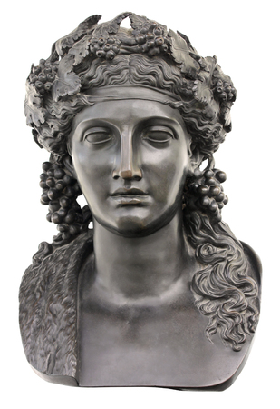 olympian: Ancient bronze statue of Dionysus isolated on a white background. Dionysus is the Olympian God of the grape harvest, wine and merriment. He was also known as Bacchus.