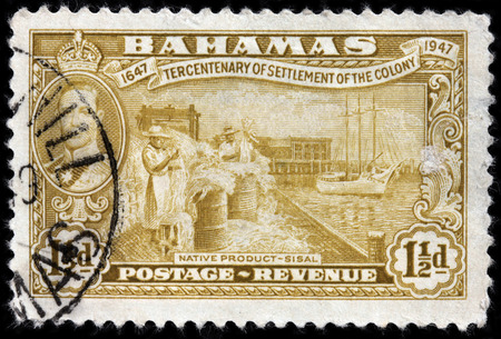 sisal: LUGA, RUSSIA - JUNE 25, 2016: A stamp printed by BAHAMAS shows native product sisal. The sisal fibre traditionally has many uses, including rope, twine, paper, cloth, footwear and hats, circa 1948