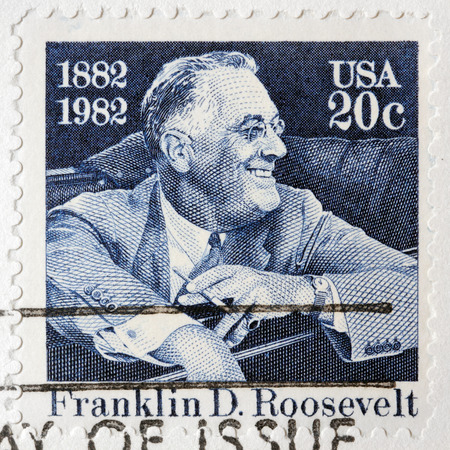 LUGA, RUSSIA - FEBRUARY 9, 2017: A stamp printed by USA shows Franklin Delano Roosevelt American statesman, political leader and 32nd President of the United States, circa 1982
