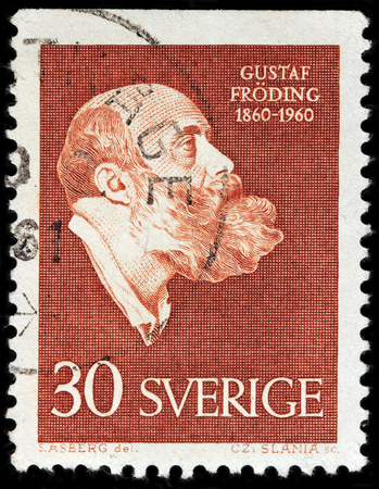 gustaf: LUGA, RUSSIA - FEBRUARY 7, 2017: A stamp printed by SWEDEN shows image portrait of famous  Swedish poet and writer Gustaf Froding, circa 1960
