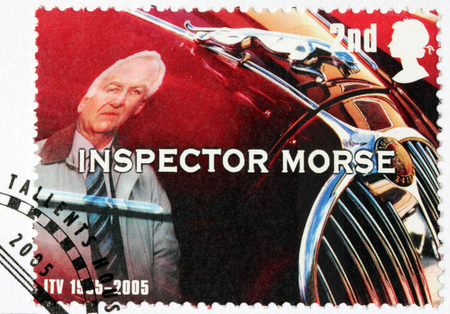 dexter: LUGA, RUSSIA - NOVEMBER 6, 2016: A stamp printed by GREAT BRITAIN shows image portrait of famous English actor John Thaw as Inspector Morse, circa 2005